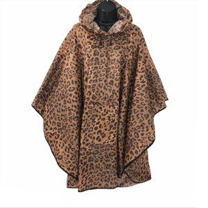 Chico's Rain Poncho Hooded Animal Leopard Print